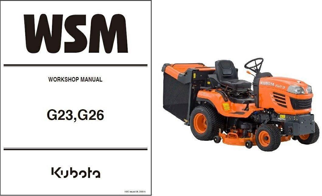 Kubota G23 / G26 Ride On Mower WSM Service Manual on a CD -- G 23 26