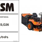 Kubota G23 / G26 Ride On Mower WSM Service Manual on a CD -- G 23 26