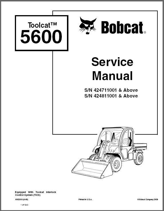 Bobcat Toolcat 5600 Utility Work Machine Service Manual on a CD