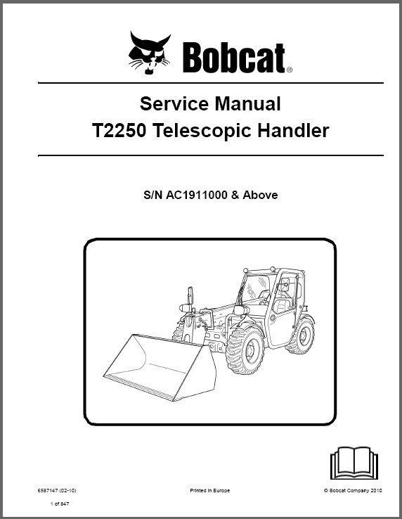 Bobcat T2250 Telescopic Handler Service Manual on a CD -- T 2250