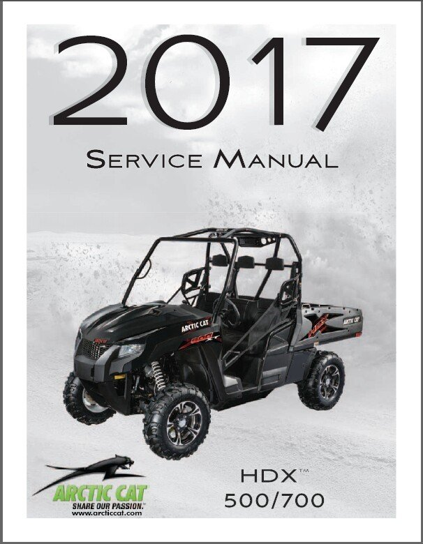 2017 Arctic Cat HDX 500 / HDX 700 UTV Service Manual on a CD
