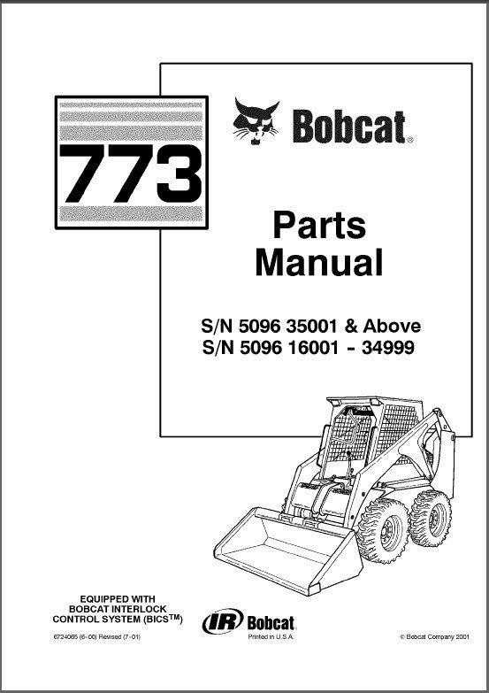 Bobcat 773 Skid Steer Loader Parts Manual on a CD