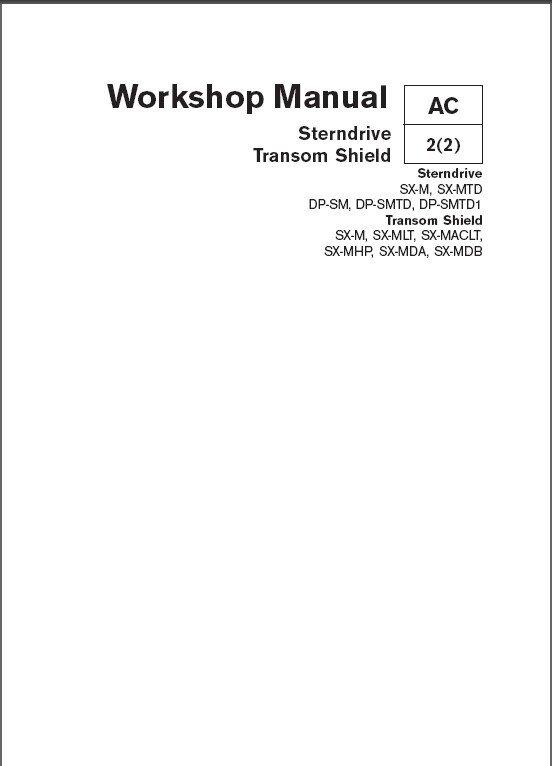 Volvo Penta Sterndrive ( SX, DP ) / Transom Shield ( SX ) Service Manual on a CD