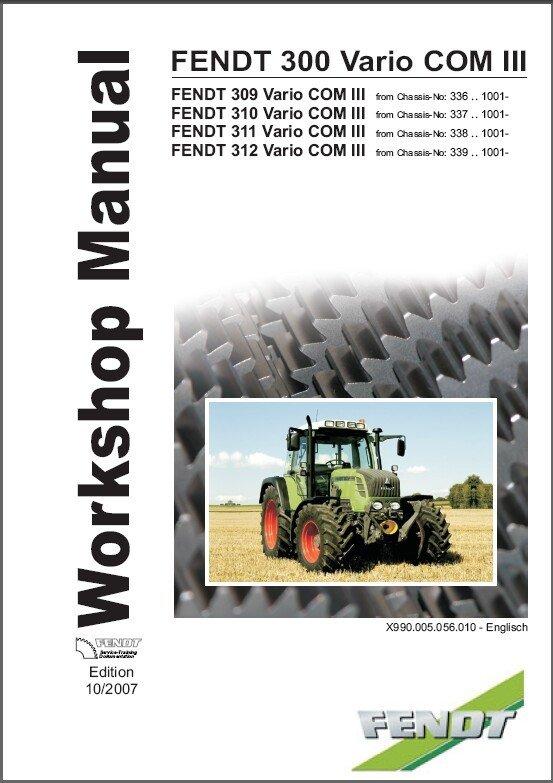 FENDT 300 Vario ( 309 310 311 312 ) Tractor Service Workshop Manual on a CD