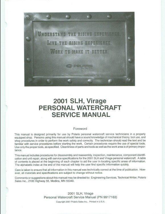 2001 Polaris SLH / Virage Personal Watercraft ( PWC ) Service Manual CD