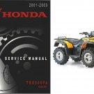 2001-2003 Honda TRX500FA Rubicon Service Repair Manual CD -- TRX 500 FA TRX500
