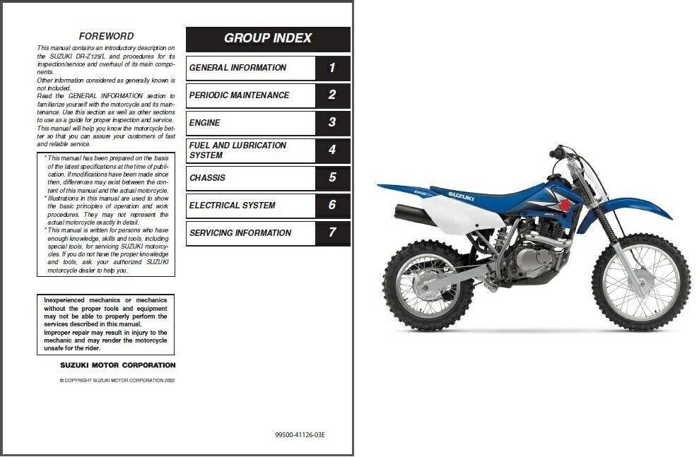 2003-2009 Suzuki DR-Z125 (DR-Z125/L) Service Manual CD