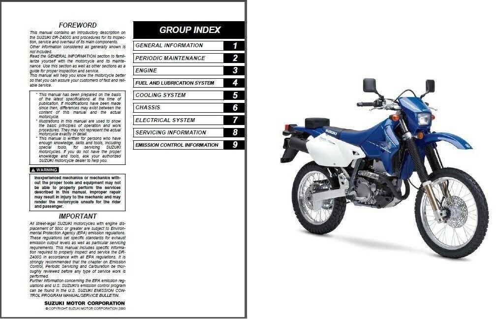 2000-2009 Suzuki DR-Z400S Service Repair Manual CD  -  DRZ400S DR Z 400 S