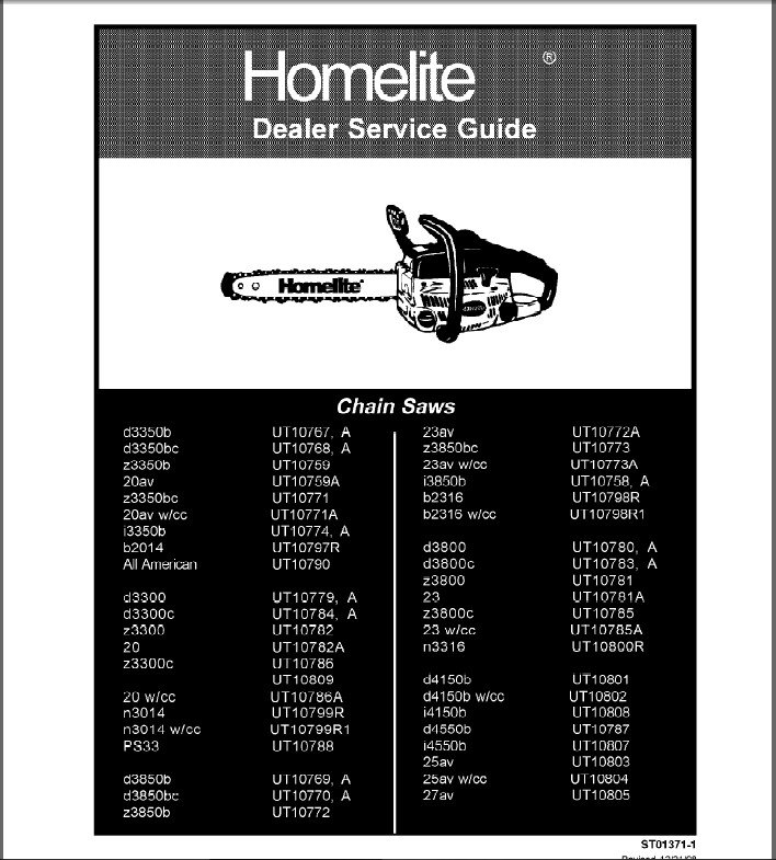 Homelite Chainsaw Service Repair Manual CD ----   Chain Saw