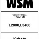 Kubota L2800 L3400 Tractor WSM Service Workshop Manual on a CD