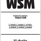 Kubota L3560 L4060 L4760 L5060 L5460 L6060 Tractor WSM Service Manual CD