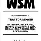 Kubota BX1880 BX2380 BX2680 Tractor Mower WSM Service Repair Manual CD