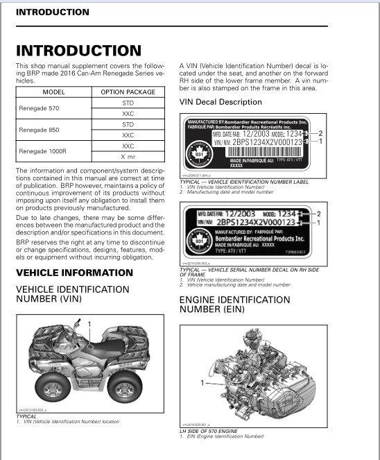 2016 Can-Am Renegade 570 / 850 / 1000R Service Repair Shop Manual on a CD
