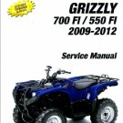 2009-2012 Yamaha Grizzly 550-700 FI ATV Service Repair Manual on a CD