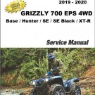 2019-2020 Yamaha Grizzly 700 EPS 4WD ATV Service Repair Manual on a CD