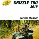 2016 Yamaha Grizzly 700 EPS 4WD LE / SE ATV Service Repair Manual on a CD