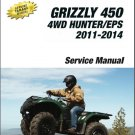 2007-2014 Yamaha Grizzly 450 4WD Hunter / EPS ATV Service Repair Manual on a CD