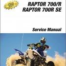 2013-2014 Yamaha Raptor 700 / 700R / SE (YFM700) ATV Service Repair Manual CD