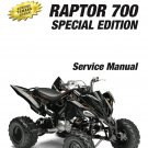 2009-2012 Yamaha Raptor 700 Special Edition Service Repair Manual on a CD