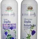 Set of Abhaibhubejhr THAI Herb BUTTERFLY PEA Shampoo & Conditioner For Reducing Prema