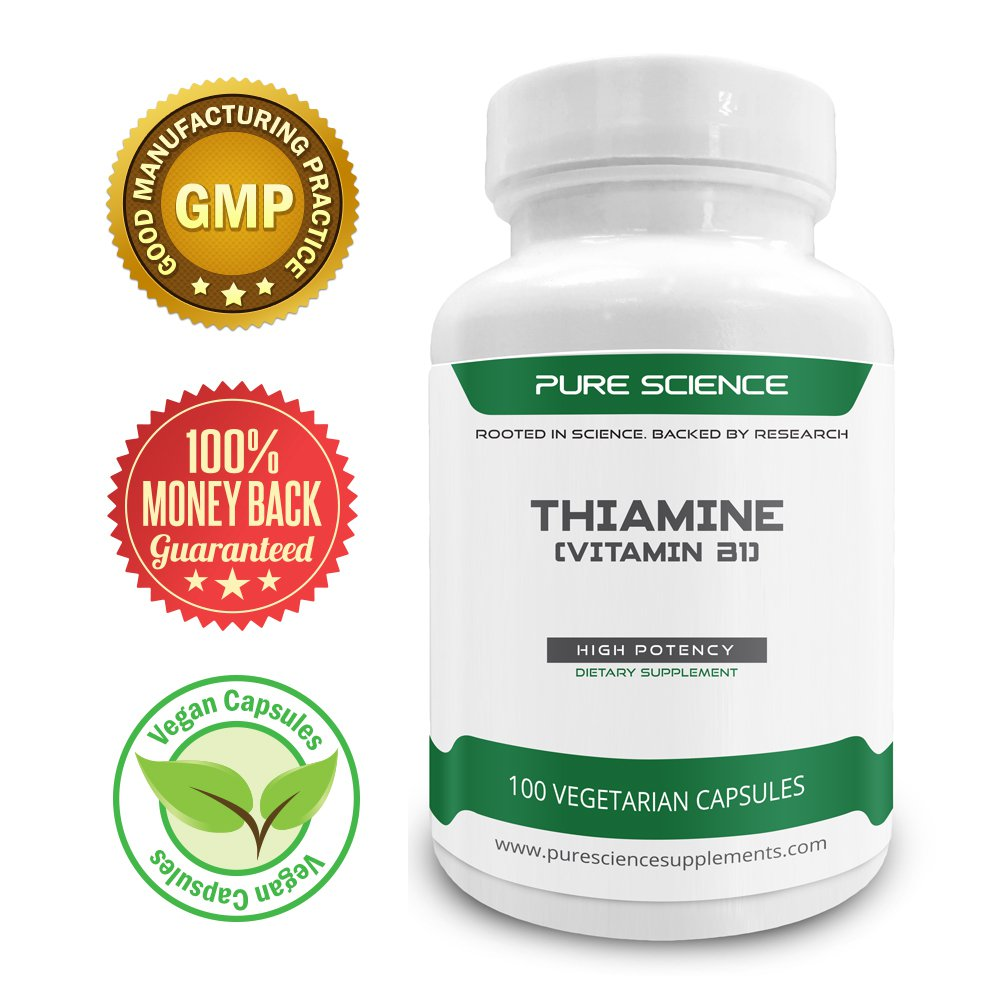 Pure Science Vitamin B1 Thiamine 100mg - Reduces Symptoms of Thiamine Deficiency