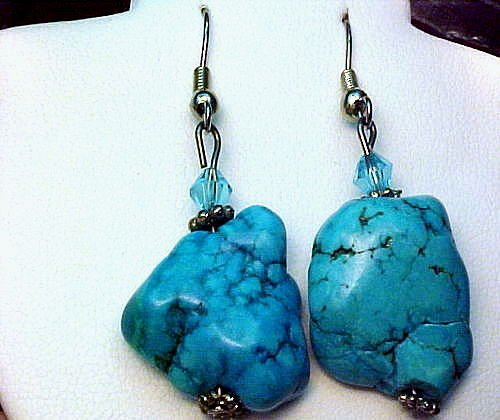 "NATURAL TURQUOISE NUGGET EARRINGS 1 1/4"" LONG X 5/8"" 925 SOLID SS"