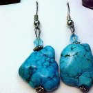 """NATURAL TURQUOISE NUGGET EARRINGS 1 1/4"""" LONG X 5/8"""" 925 SOLID SS"""