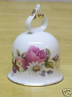 Vintage Summer Rose Flower Bell/ Fine Bone China With Gold Trimming