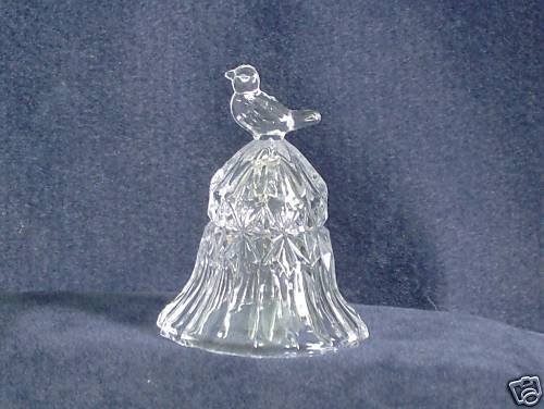 Vintage Hofbauer Full Lead Crystal Bell with Bird Finial