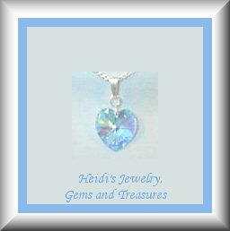 Children's Jewelry Aquamarine Swarovski Crystal Heart Sterling Necklace/ Free Shipping