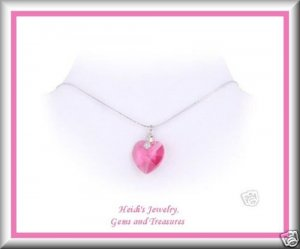 """Children's Fine Jewelry Pink Crystal Heart Sterling Silver 16"""" Necklace Free US Shipping"""