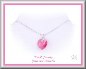 "Baby Children's Jewelry Pink Crystal Heart Sterling Silver 14"" Necklace Free US Shipping"
