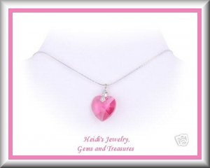 """Baby Toddler Flower Girl Pink Swarovski Crystal Heart Sterling Silver 14"""" Necklace Free US Shipping"""