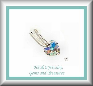 """Baby Children's Jewelry Rainbow Crystal Heart Sterling Silver 14"""" Necklace / Free US Shipping"""