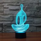 Acrylic 7 Color 3D LED nightlight Yoga meditation bedroom lamp light