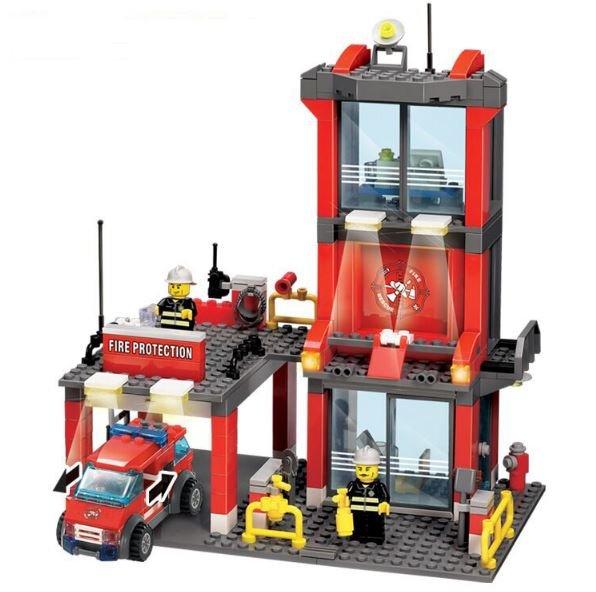 300pcs ABS Mini City Fire Station Building Block (Bricks) Model DIY Birthday Gift Set for Kids