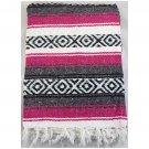 "Sunnydaze Premium Mexican Beach Yoga Blanket, Fuchsia/Charcoal, 82"" L x 54"" W"