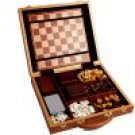 Classic Games Collection Burlwood Attache 6-in-1 Game Set