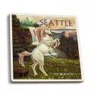 Seattle, Washington - Unicorn Scene- Lantern Press Artwork (Set of 4 Ceramic Coasters)