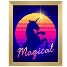 Click Wall Art Magical Unicorn Sunset Framed Graphic Art 16.5 x 13.5 Gold Frame