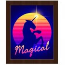Click Wall Art Magical Unicorn Sunset Framed Graphic Art 26.5 x 22.5 Espresso Frame