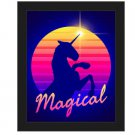 Click Wall Art Magical Unicorn Sunset Framed Graphic Art 26.5 x 22.5 Black Frame