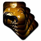3dRose Black Unicorn In Front Of Full Moon With Fairies, Ceramic Tile Coasters, set of 8