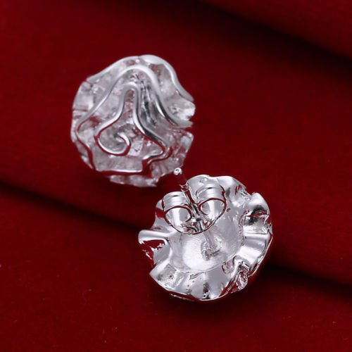 925Silver Plated Rose Flower Shape Ear Stud Women Girl Jewelry Gift New
