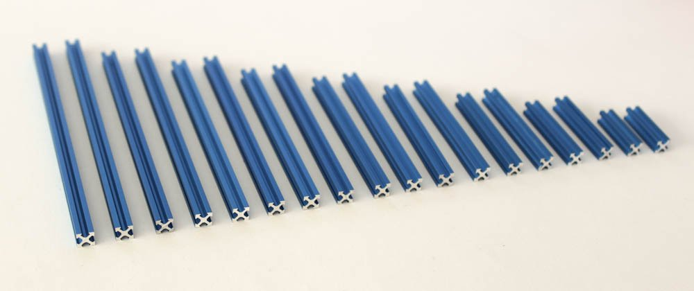 Blue Pre-cut 18 piece set 2-10cm long NanoBeam t-slot extruded aluminum