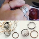 Fashion 3pcs/Set Vintage Retro Women Lady Rivet Leaf Feather Knuckle Club Rings Girls Drop shi