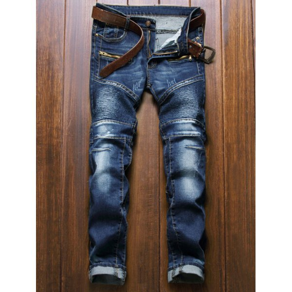 Moto Design Zipper Fly Straight Leg Jeans