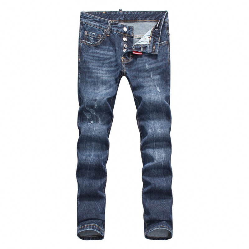 Panel Scratched Zipper Fly Five-Pocket Jeans