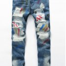 Splash-Ink Distressed Zipper jeans