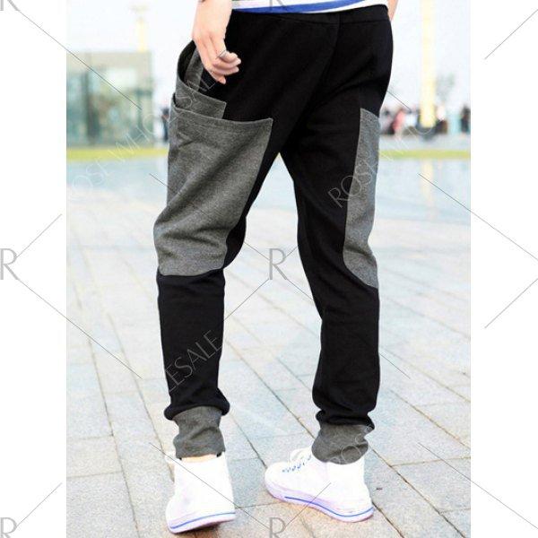 Pockets Design Drawstring Color Splicing Jogger Pants